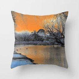 Lake Wendouree Winter Sunset Throw Pillow