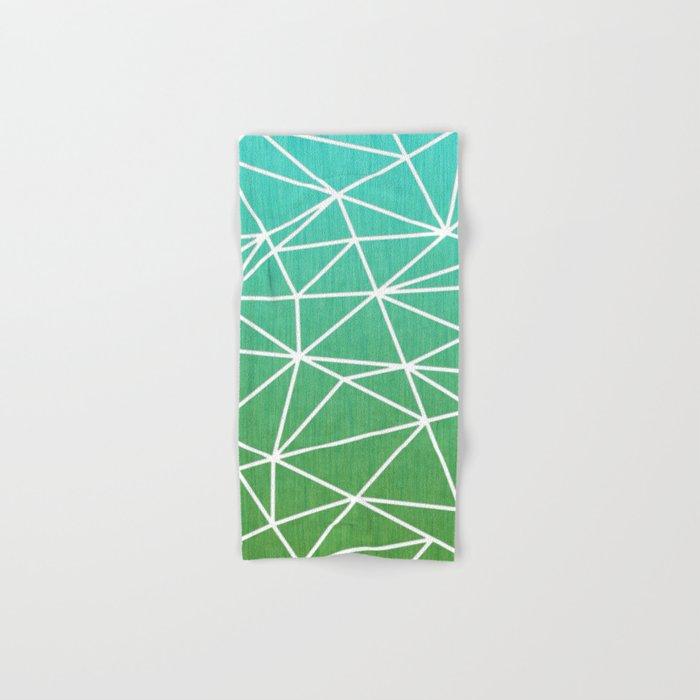 Abstract geometric | green & turquoise Hand & Bath Towel