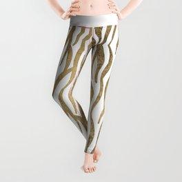 Chic faux gold white modern zebra animal print pattern Leggings