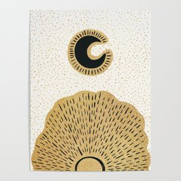 Sun and Moon Relationship // Cosmic Rays of Black with Gold Speckle Stars Cool Minimal Digital Drawn Poster