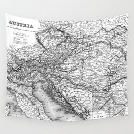 Vintage Map of Austria (1856) BW Wall Tapestry
