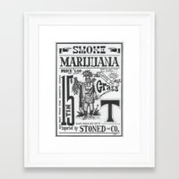 marijuana Framed Art Prints featuring SMOKE MARIJUANA by NIGHTJUNKIE