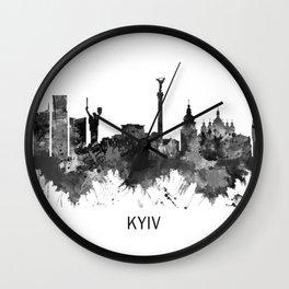 Kyiv Ukraine Skyline BW Wall Clock