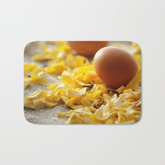 Fresh italian Pasta with egg Bath Mat