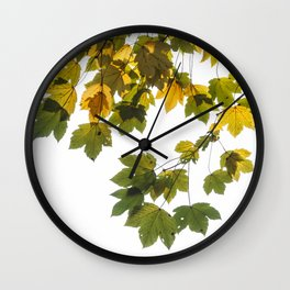 Green And Yellow Maple Leaf Wall Clock