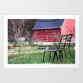 Bench in a Garden Art Print