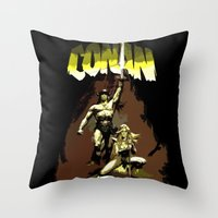 "conan Throw Pillows featuring Conan ""The Barbarian"" * Conan, el bárbaro * Vintage Movie Inspiration by Freak Shop 