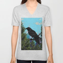 CROW &  Mountain Landscape Pines In Blue-Greens Unisex V-Neck