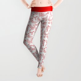 Winter Birds and Foliage Pattern (Red) Leggings