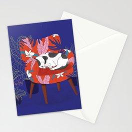 Sleeping Dog in Armchair – Dark Version Stationery Cards