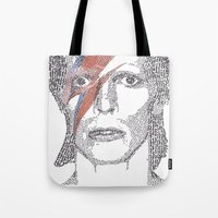 bowie Tote Bags featuring Bowie by S. L. Fina