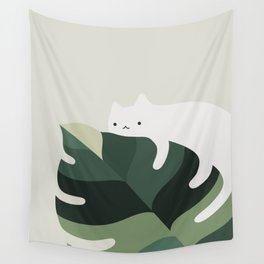 Cat and Plant 12A Wall Tapestry
