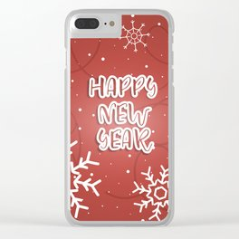 Happy New Year winter holidays Clear iPhone Case