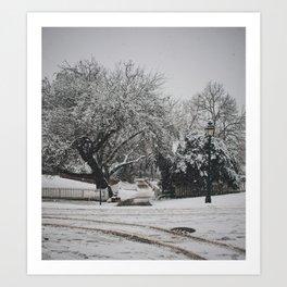 snow on nicholson street Art Print
