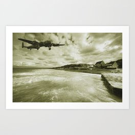 Lancaster over Omaha Beach  Art Print