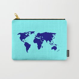 World Silhouette In Blue Carry-All Pouch