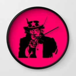 Neon Pink Uncle Trump Needs You Wall Clock