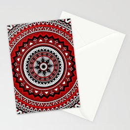 Red and Black Mandala Stationery Cards