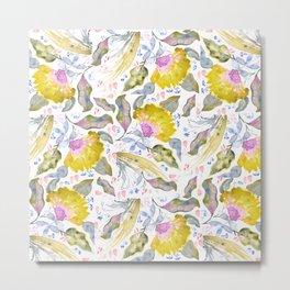 Lovelies - yellow & pink Flower pattern Metal Print