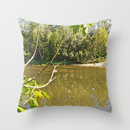 Enjoy the tranquil river Throw Pillow
