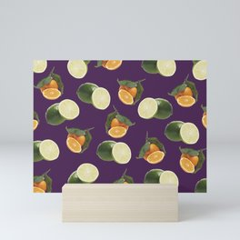 Lime and Clementine Fruits Pattern on Purple Background Mini Art Print