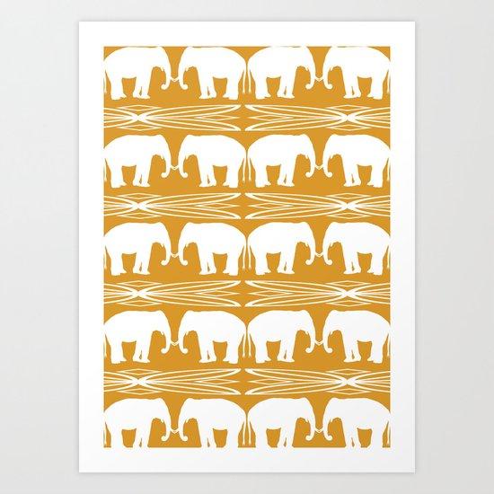 Elephant March Art Print