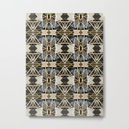 Gray and Gold Abstract Geometric Part II. Metal Print