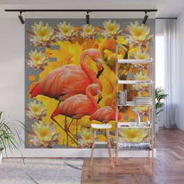YELLOW WATER LILIES SAFFRON FLAMINGOS FANTASY Wall Mural