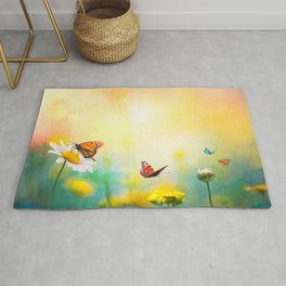 Flowers With Butterflies in the spring garden illustration Rug