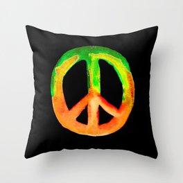 Green Orange Yellow Watercolor Tie Dye Peace Sign Throw Pillow