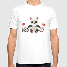 Cute panda bear with kids cartoon T-shirt