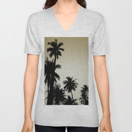 Tropical palm trees on yellow Unisex V-Neck