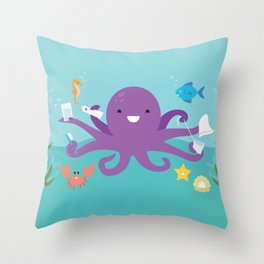 Under the Sea Octopus and Friends Throw Pillow