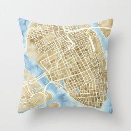Charleston, South Carolina City Map Art Print Throw Pillow