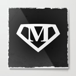 White Letter M Symbol Metal Print