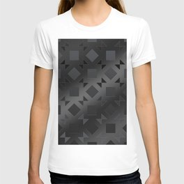 Pattern of squares and diamonds in black gradient T-shirt