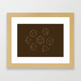 Outline of Dice in Gold + Brown Framed Art Print