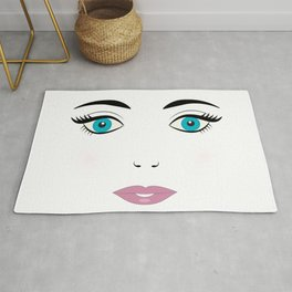 Doll face with blue eyes, eyelashes, eyebrows and pink lips. Cute young woman face. Rug