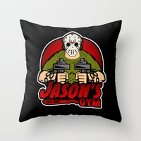 gym Throw Pillows featuring Jacon's Gym by Buby87