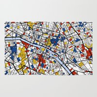 paris Area & Throw Rugs featuring Paris by Mondrian Maps