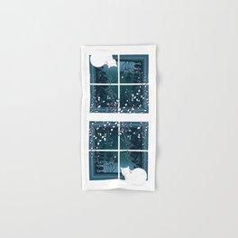 White Kitty Cat Window Watcher Hand & Bath Towel