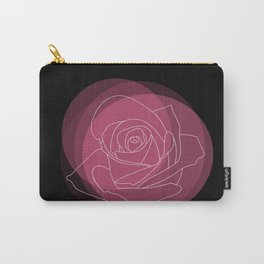 Pastel Spring Rose Flower on a Black Backdrop Carry-All Pouch