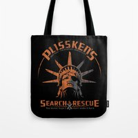 discount Tote Bags featuring Snake Plissken's Search & Rescue Pty. Ltd. by 6amcrisis