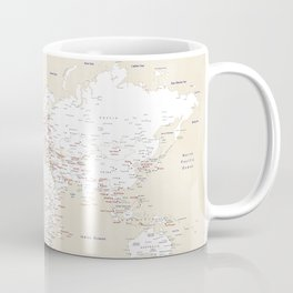 "Cream, white, red and navy blue world map, ""Deuce"" Coffee Mug"