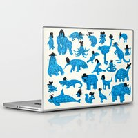 hats Laptop & iPad Skins featuring Blue Animals Black Hats by WanderingBert / David Creighton-Pester