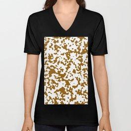 Spots - White and Golden Brown Unisex V-Neck