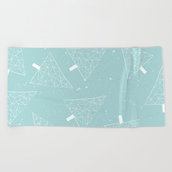 Christmas Trees Light Blue Beach Towel
