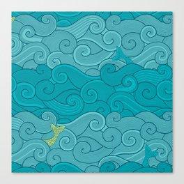 Surf Side - AQUA Canvas Print