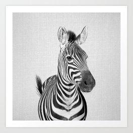 Zebra 2 - Black & White Art Print