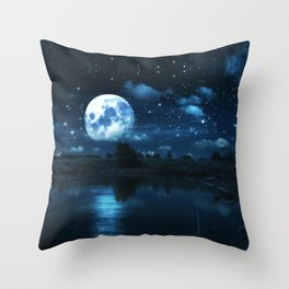 Rural forest near a river night landscape with full moon Throw Pillow